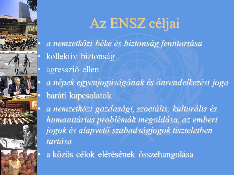 Az ENSZ jellemzői  192 tagállam  New York  Európai kp: Genf  IAEA: Bécs  Gazd bizottságok:  Addis Ababa (Etiópia)  Amman (Jordánia)  Bangkok (Thaiföld)  Santiago (Chile)  6 hivatalos nyelv: 1.Arab 2.Kínai 3.Angol 4.Francia 5.Orosz 6.Spanyol