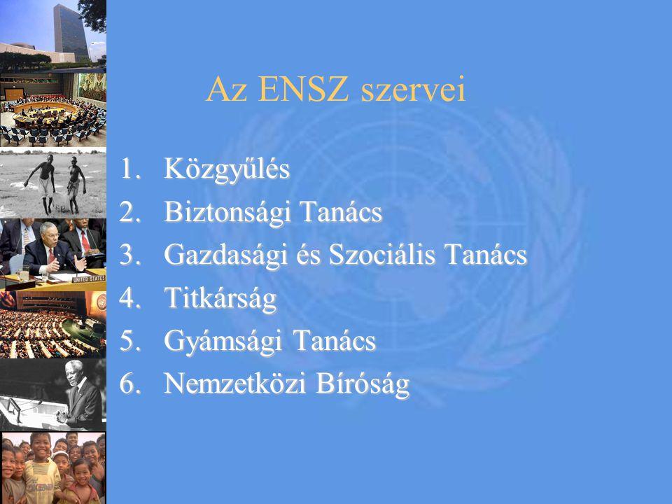 Az ENSZ szervei 1.Közgyűlés 2.Biztonsági Tanács 3.Gazdasági és Szociális Tanács 4.Titkárság 5.Gyámsági Tanács 6.Nemzetközi Bíróság