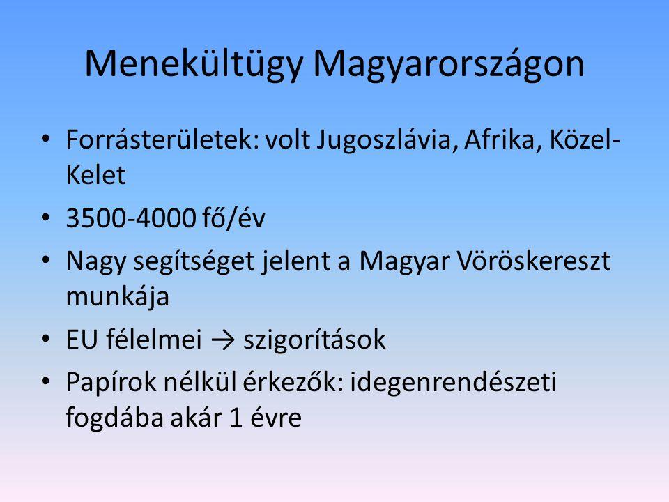 Menekültügy Magyarországon Forrásterületek: volt Jugoszlávia, Afrika, Közel- Kelet 3500-4000 fő/év Nagy segítséget jelent a Magyar Vöröskereszt munkája EU félelmei → szigorítások Papírok nélkül érkezők: idegenrendészeti fogdába akár 1 évre