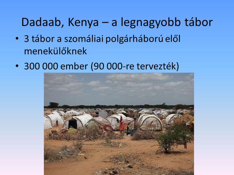 Dadaab, Kenya – a legnagyobb tábor 3 tábor a szomáliai polgárháború elől menekülőknek 300 000 ember (90 000-re tervezték)