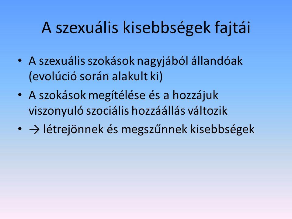 A szexuális kisebbségek fajtái A szexuális szokások nagyjából állandóak (evolúció során alakult ki) A szokások megítélése és a hozzájuk viszonyuló szociális hozzáállás változik → létrejönnek és megszűnnek kisebbségek