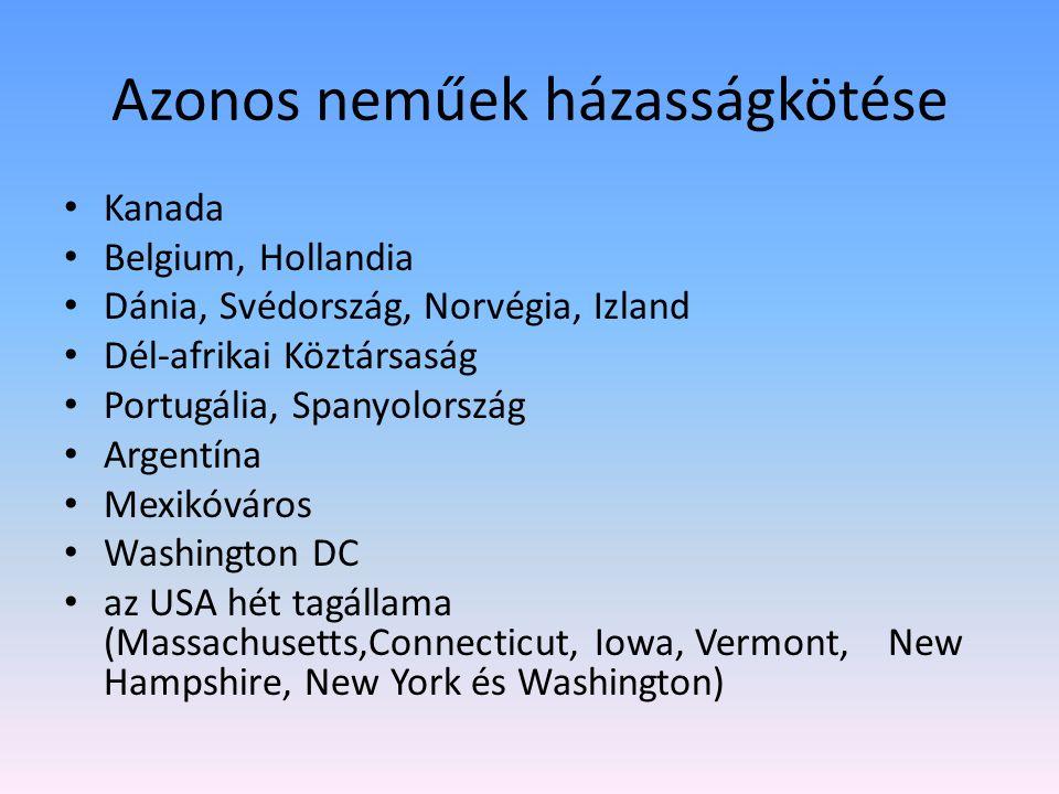 Azonos neműek házasságkötése Kanada Belgium, Hollandia Dánia, Svédország, Norvégia, Izland Dél-afrikai Köztársaság Portugália, Spanyolország Argentína Mexikóváros Washington DC az USA hét tagállama (Massachusetts,Connecticut, Iowa, Vermont, New Hampshire, New York és Washington)