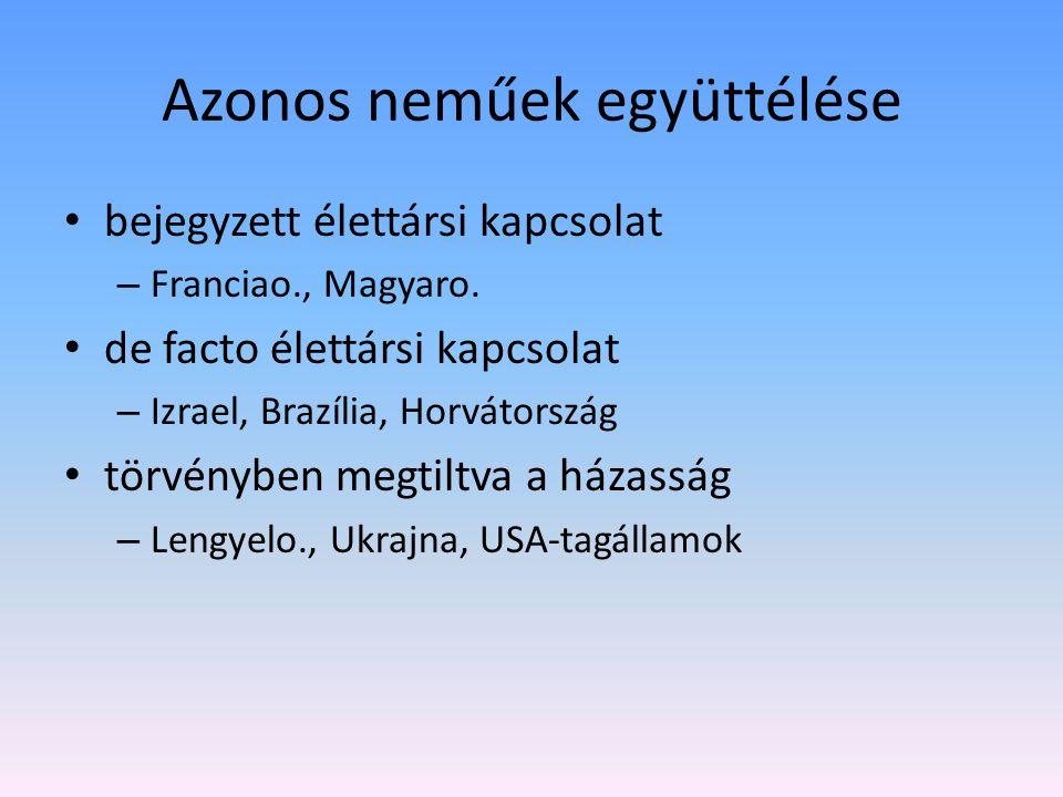 Azonos neműek együttélése bejegyzett élettársi kapcsolat – Franciao., Magyaro.