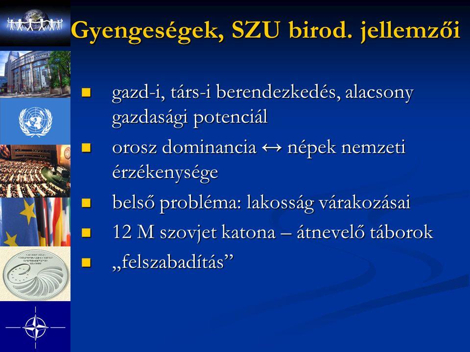 Gyengeségek, SZU birod. jellemzői gazd-i, társ-i berendezkedés, alacsony gazdasági potenciál gazd-i, társ-i berendezkedés, alacsony gazdasági potenciá