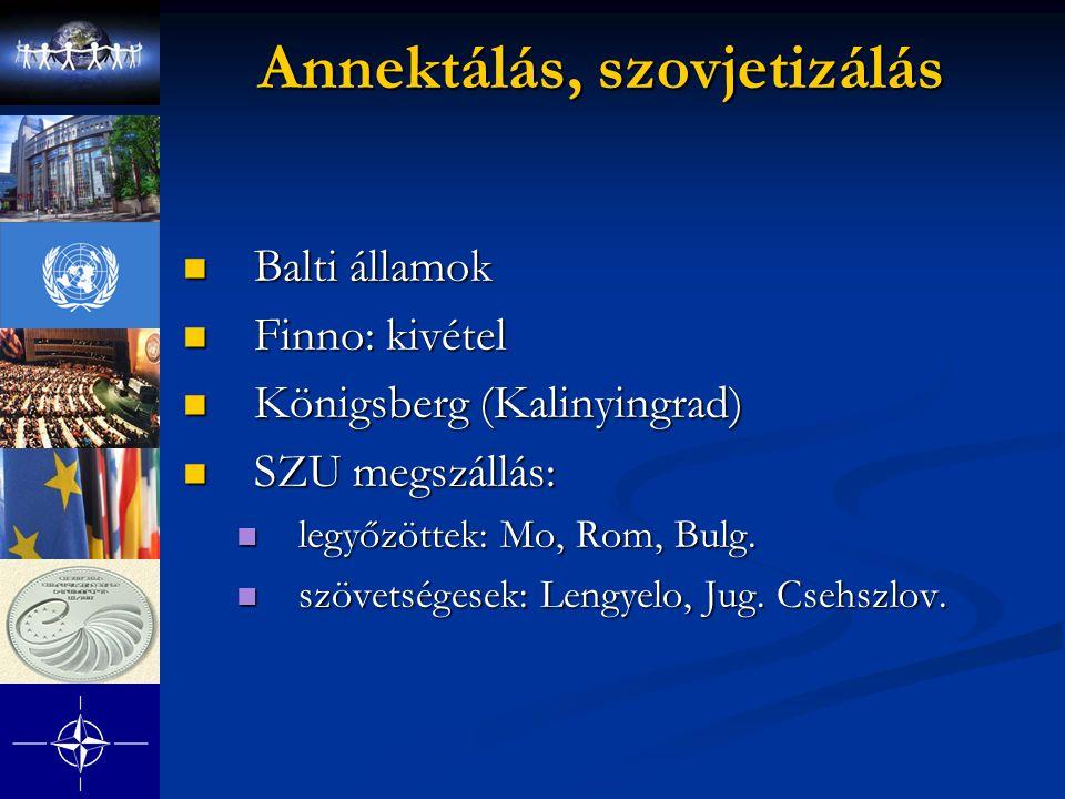 Annektálás, szovjetizálás Balti államok Balti államok Finno: kivétel Finno: kivétel Königsberg (Kalinyingrad) Königsberg (Kalinyingrad) SZU megszállás