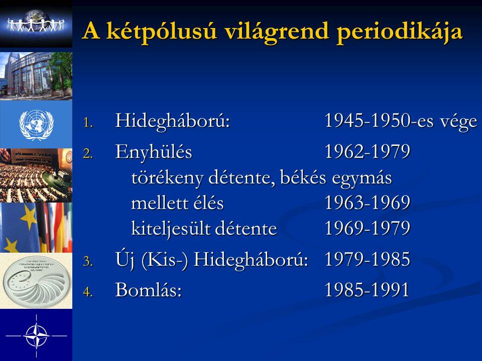 A kétpólusú világrend periodikája 1. Hidegháború: 1945-1950-es vége 2. Enyhülés 1962-1979 törékeny détente, békés egymás mellett élés1963-1969 kitelje
