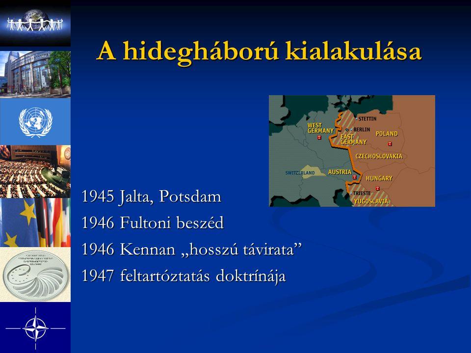 """A hidegháború kialakulása 1945 Jalta, Potsdam 1946 Fultoni beszéd 1946 Kennan """"hosszú távirata"""" 1947 feltartóztatás doktrínája"""