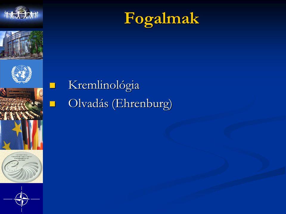 Fogalmak Kremlinológia Kremlinológia Olvadás (Ehrenburg) Olvadás (Ehrenburg)