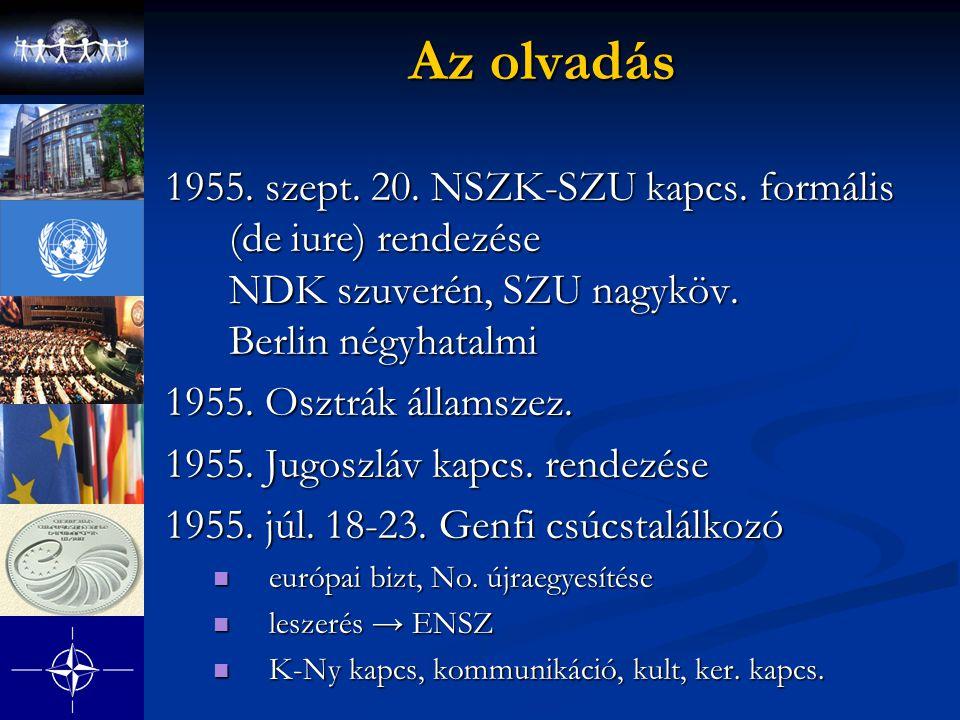 Az olvadás 1955. szept. 20. NSZK-SZU kapcs. formális (de iure) rendezése NDK szuverén, SZU nagyköv. Berlin négyhatalmi 1955. Osztrák államszez. 1955.