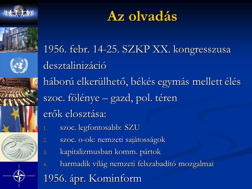 Az olvadás 1956. febr. 14-25. SZKP XX. kongresszusa desztalinizáció háború elkerülhető, békés egymás mellett élés szoc. fölénye – gazd, pol. téren erő