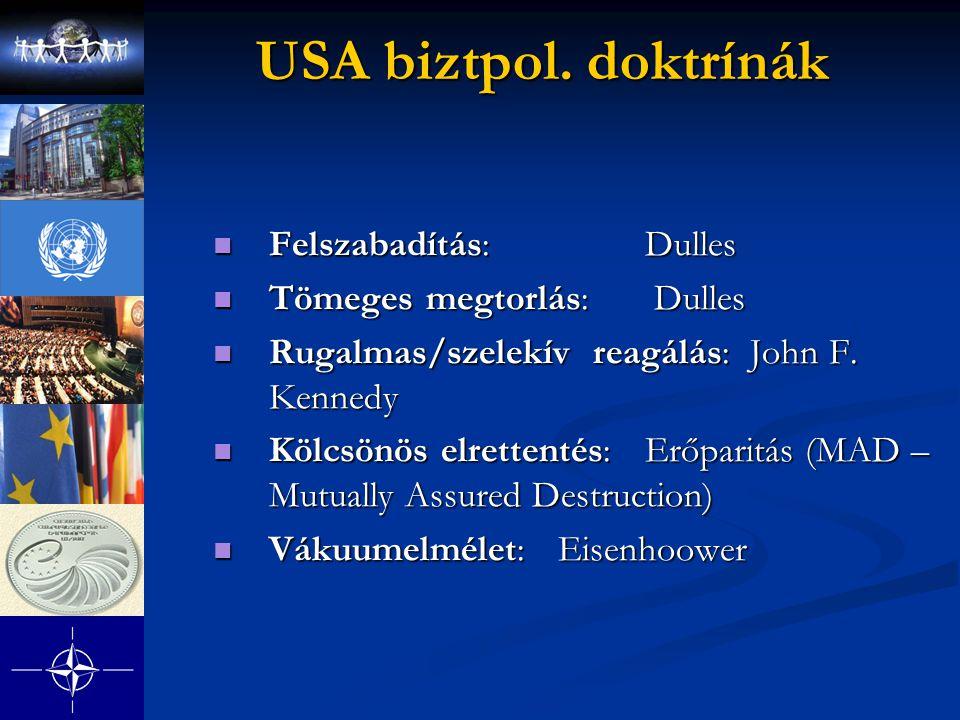 USA biztpol. doktrínák Felszabadítás: Dulles Felszabadítás: Dulles Tömeges megtorlás: Dulles Tömeges megtorlás: Dulles Rugalmas/szelekív reagálás: Joh