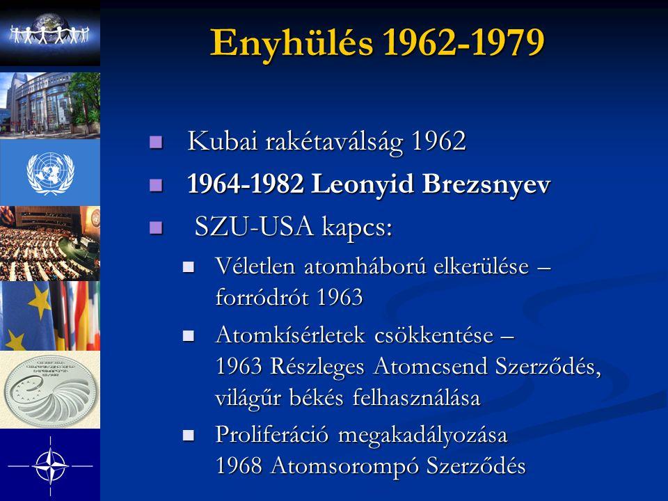 Enyhülés 1962-1979 Kubai rakétaválság 1962 Kubai rakétaválság 1962 1964-1982 Leonyid Brezsnyev 1964-1982 Leonyid Brezsnyev SZU-USA kapcs: SZU-USA kapc