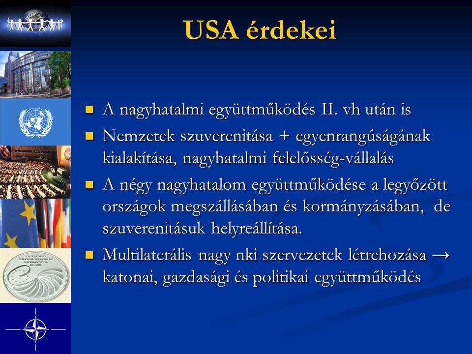 USA érdekei A nagyhatalmi együttműködés II. vh után is A nagyhatalmi együttműködés II. vh után is Nemzetek szuverenitása + egyenrangúságának kialakítá