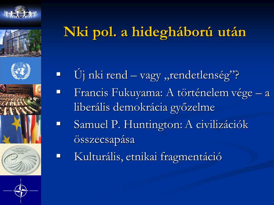 """Nki pol. a hidegháború után  Új nki rend – vagy """"rendetlenség""""?  Francis Fukuyama: A történelem vége – a liberális demokrácia győzelme  Samuel P. H"""