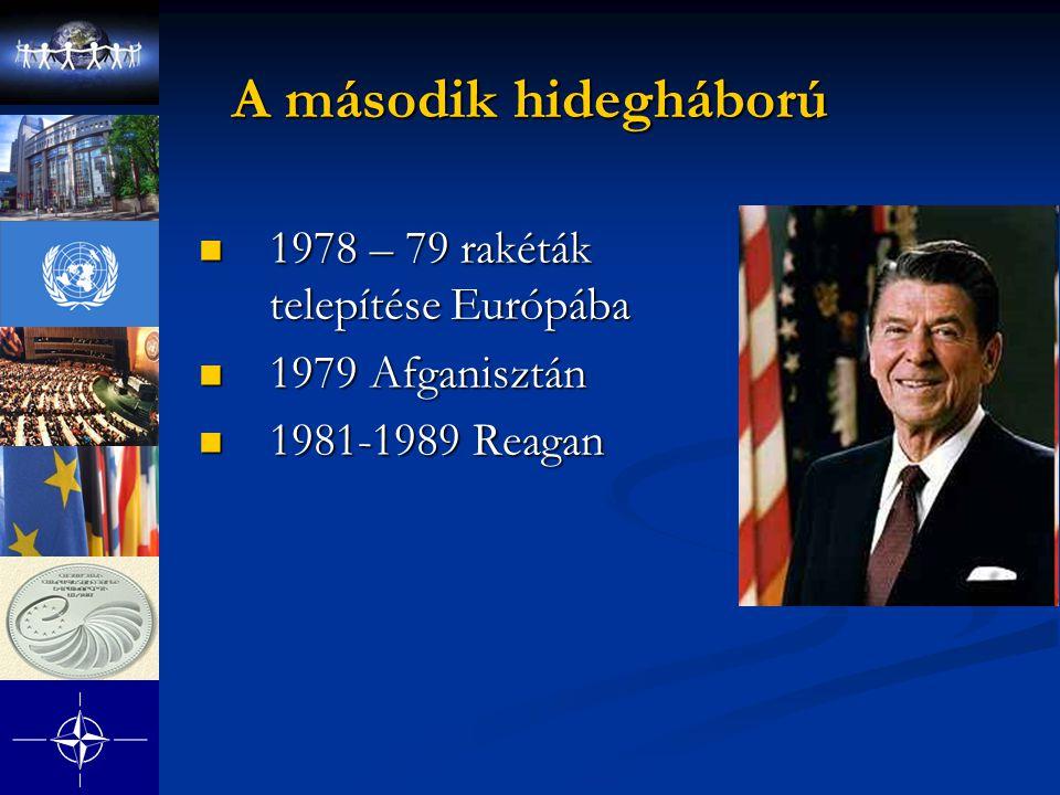 A második hidegháború 1978 – 79 rakéták telepítése Európába 1978 – 79 rakéták telepítése Európába 1979 Afganisztán 1979 Afganisztán 1981-1989 Reagan 1