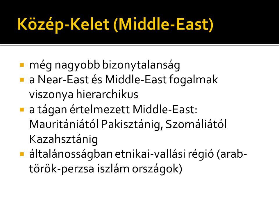  még nagyobb bizonytalanság  a Near-East és Middle-East fogalmak viszonya hierarchikus  a tágan értelmezett Middle-East: Mauritániától Pakisztánig,