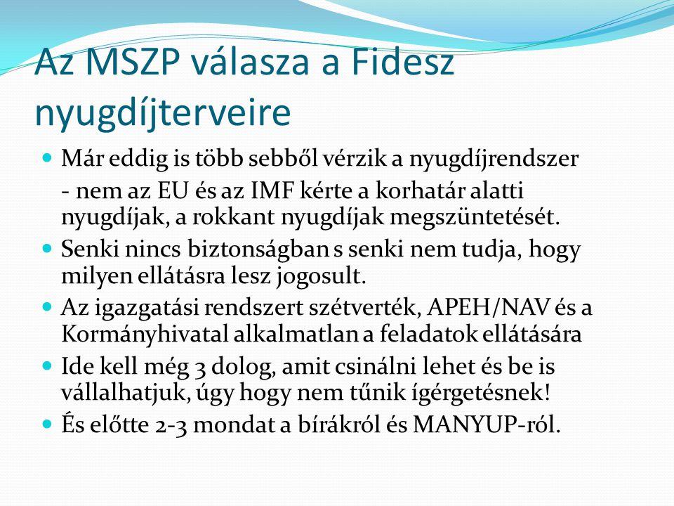 Az MSZP válasza a Fidesz nyugdíjterveire Már eddig is több sebből vérzik a nyugdíjrendszer - nem az EU és az IMF kérte a korhatár alatti nyugdíjak, a rokkant nyugdíjak megszüntetését.