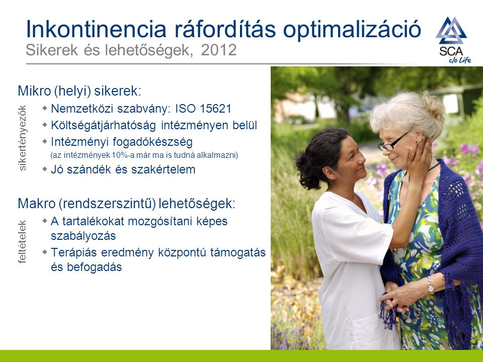 Inkontinencia ráfordítás optimalizáció Sikerek és lehetőségek, 2012 Mikro (helyi) sikerek:  Nemzetközi szabvány: ISO 15621  Költségátjárhatóság inté