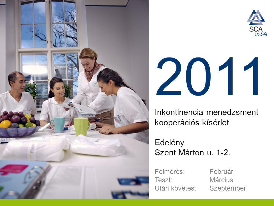 2011 Inkontinencia menedzsment kooperációs kísérlet Edelény Szent Márton u. 1-2. Felmérés: Február Teszt: Március Után követés: Szeptember