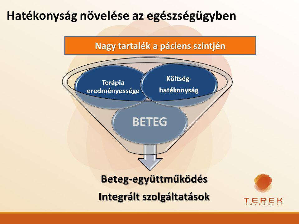 Hatékonyság növelése az egészségügybenBeteg-együttműködés Integrált szolgáltatások BETEG Terápia eredményessége Költség- hatékonyság Nagy tartalék a páciens szintjén