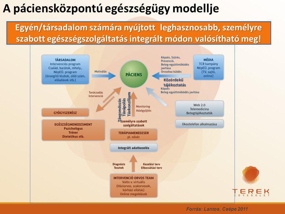 A páciensközpontú egészségügy modellje Forrás: Lantos, Csépe 2011 Egyén/társadalom számára nyújtott leghasznosabb, személyre szabott egészségszolgáltatás integrált módon valósítható meg.