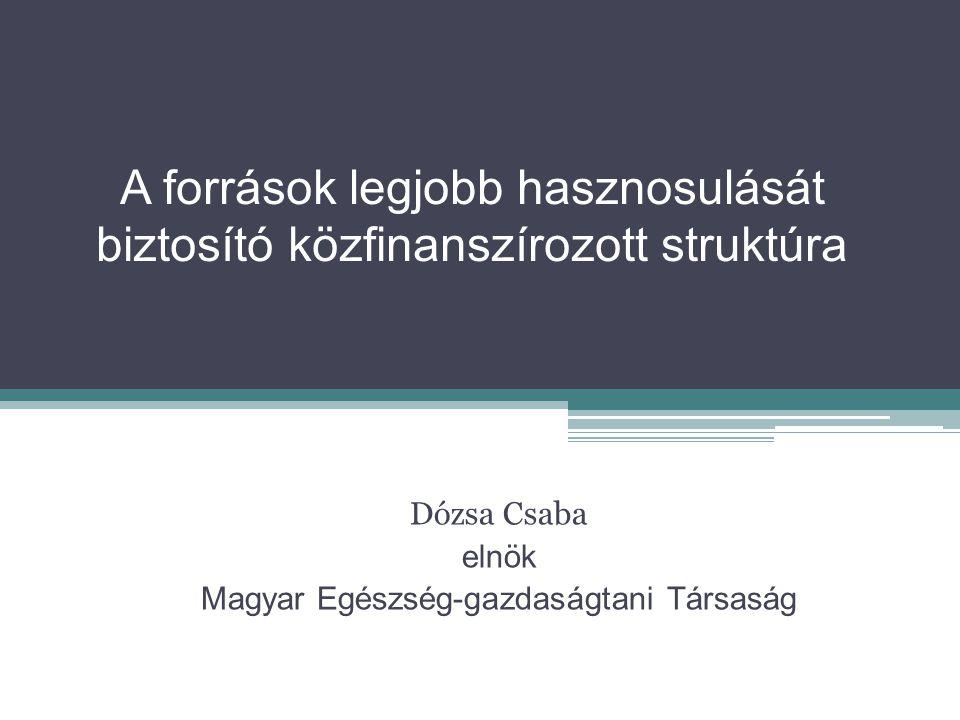 A források legjobb hasznosulását biztosító közfinanszírozott struktúra Dózsa Csaba elnök Magyar Egészség-gazdaságtani Társaság