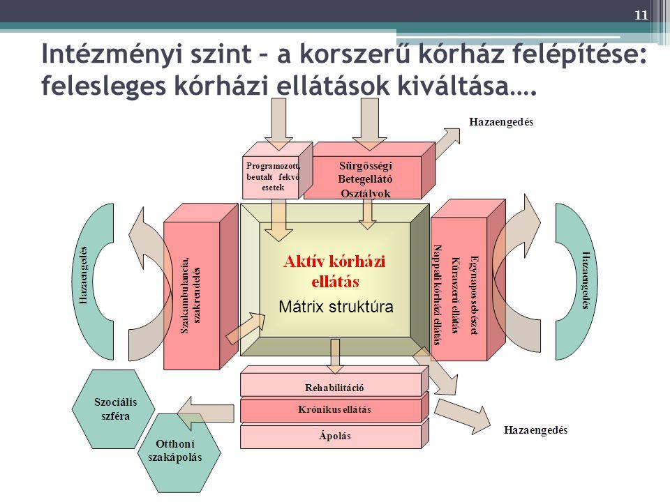 11 Intézményi szint – a korszerű kórház felépítése: felesleges kórházi ellátások kiváltása….