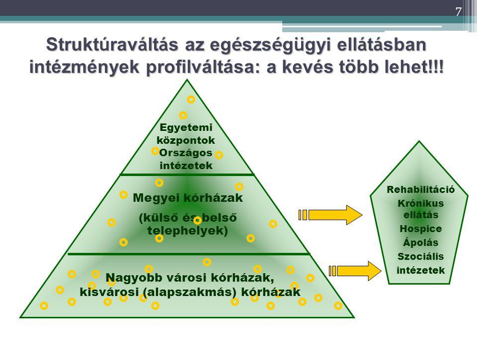 7 Strukt ú rav á lt á s az eg é szs é g ü gyi ell á t á sban intézmények profilváltása: a kevés több lehet!!.