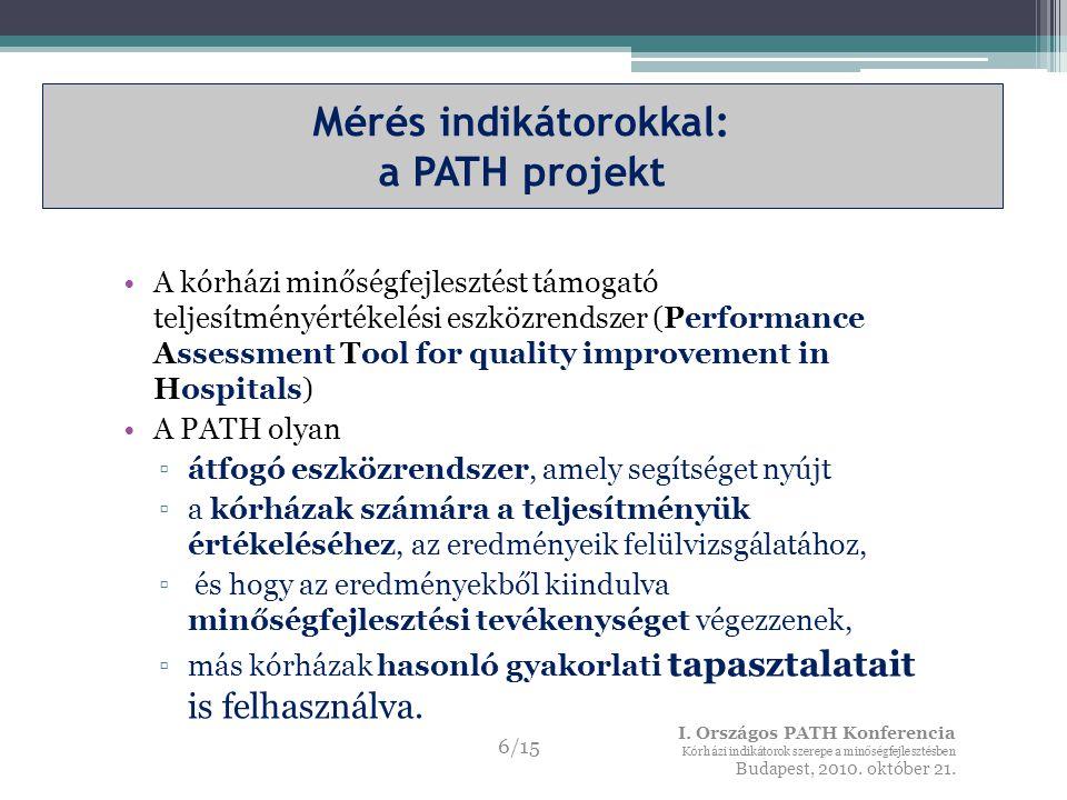 Mérés indikátorokkal: a PATH projekt A kórházi minőségfejlesztést támogató teljesítményértékelési eszközrendszer (Performance Assessment Tool for quality improvement in Hospitals) A PATH olyan ▫átfogó eszközrendszer, amely segítséget nyújt ▫a kórházak számára a teljesítményük értékeléséhez, az eredményeik felülvizsgálatához, ▫ és hogy az eredményekből kiindulva minőségfejlesztési tevékenységet végezzenek, ▫más kórházak hasonló gyakorlati tapasztalatait is felhasználva.