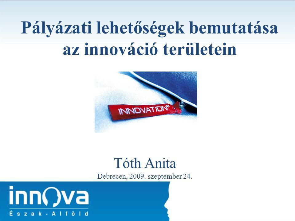 Pályázati lehetőségek bemutatása az innováció területein Tóth Anita Debrecen, 2009. szeptember 24.