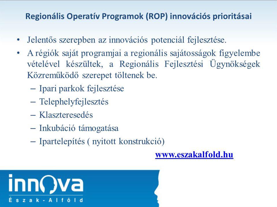 Regionális Operatív Programok (ROP) innovációs prioritásai Jelentős szerepben az innovációs potenciál fejlesztése. A régiók saját programjai a regioná