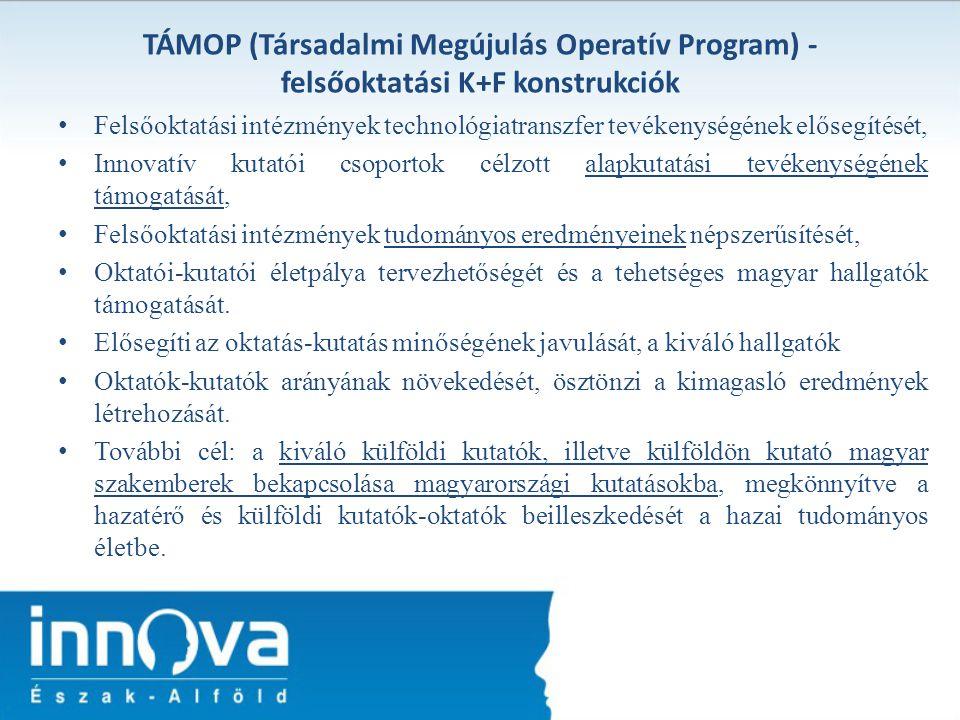 TÁMOP (Társadalmi Megújulás Operatív Program) - felsőoktatási K+F konstrukciók Felsőoktatási intézmények technológiatranszfer tevékenységének elősegít
