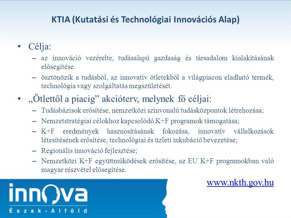 KTIA (Kutatási és Technológiai Innovációs Alap) Célja: – az innováció vezérelte, tudásalapú gazdaság és társadalom kialakításának elősegítése. – ösztö