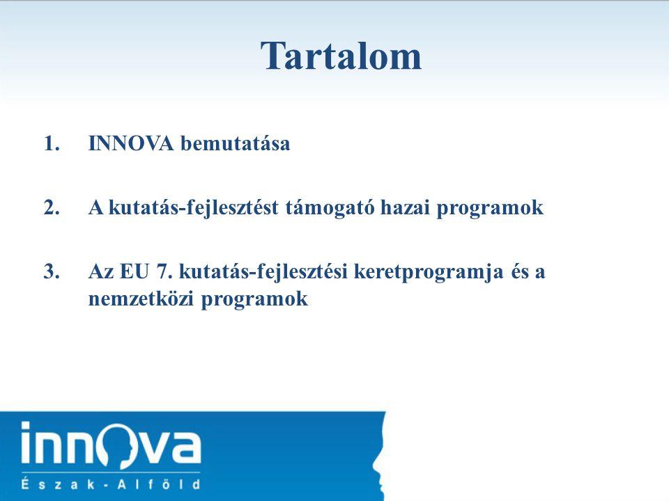 Tartalom 1.INNOVA bemutatása 2.A kutatás-fejlesztést támogató hazai programok 3.Az EU 7. kutatás-fejlesztési keretprogramja és a nemzetközi programok