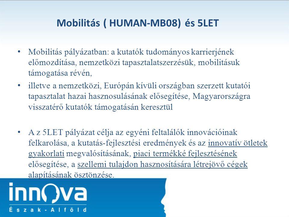 Mobilitás ( HUMAN-MB08) és 5LET Mobilitás pályázatban: a kutatók tudományos karrierjének előmozdítása, nemzetközi tapasztalatszerzésük, mobilitásuk tá