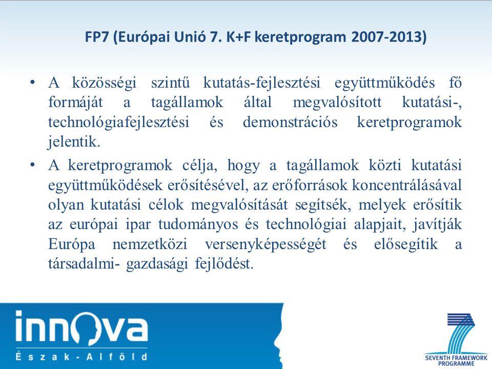 FP7 (Európai Unió 7. K+F keretprogram 2007-2013) A közösségi szintű kutatás-fejlesztési együttműködés fő formáját a tagállamok által megvalósított kut