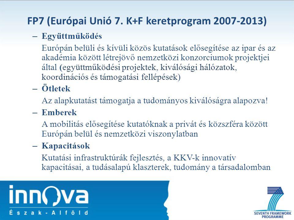 FP7 (Európai Unió 7. K+F keretprogram 2007-2013) – Együttműködés Európán belüli és kívüli közös kutatások elősegítése az ipar és az akadémia között lé