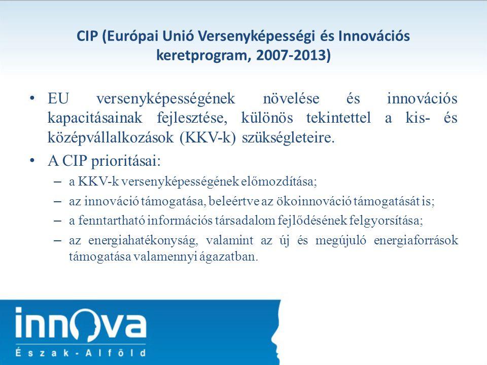 CIP (Európai Unió Versenyképességi és Innovációs keretprogram, 2007-2013) EU versenyképességének növelése és innovációs kapacitásainak fejlesztése, kü