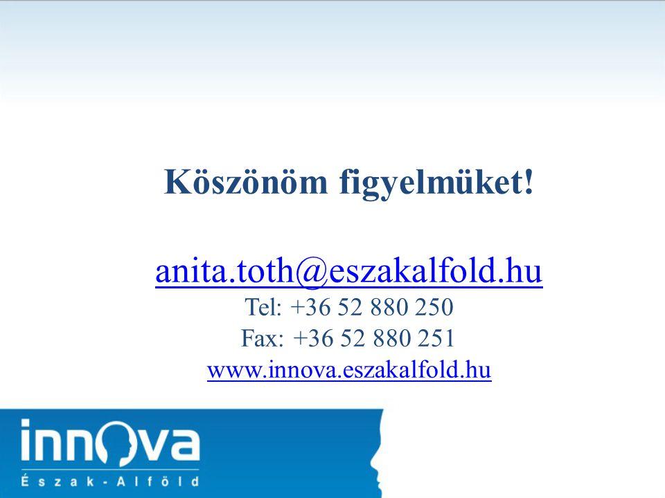 Köszönöm figyelmüket! anita.toth@eszakalfold.hu Tel: +36 52 880 250 Fax: +36 52 880 251 www.innova.eszakalfold.hu anita.toth@eszakalfold.hu www.innova