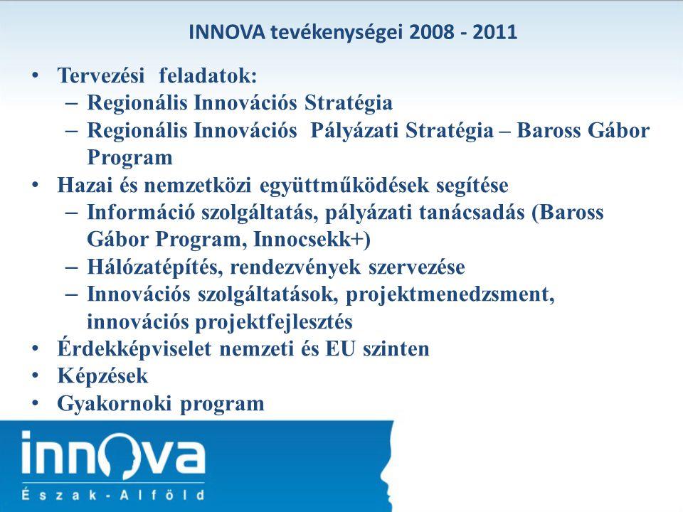 Tervezési feladatok: – Regionális Innovációs Stratégia – Regionális Innovációs Pályázati Stratégia – Baross Gábor Program Hazai és nemzetközi együttmű
