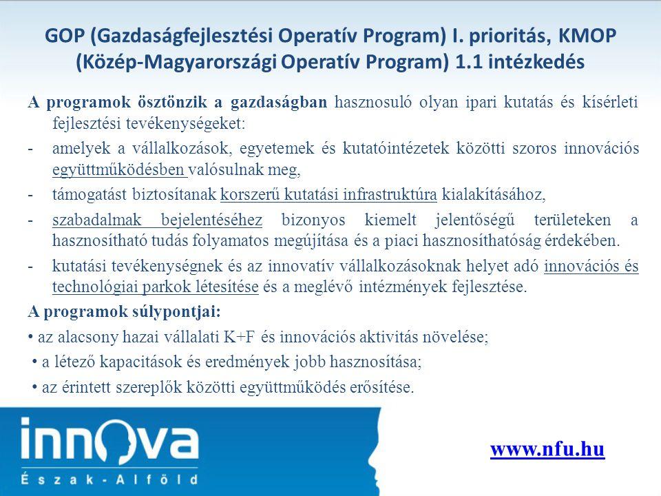 GOP (Gazdaságfejlesztési Operatív Program) I. prioritás, KMOP (Közép-Magyarországi Operatív Program) 1.1 intézkedés A programok ösztönzik a gazdaságba