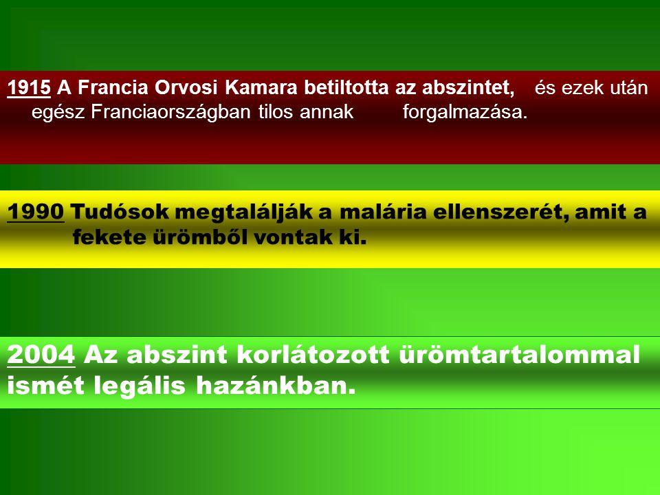 1915 A Francia Orvosi Kamara betiltotta az abszintet, és ezek után egész Franciaországban tilos annak forgalmazása. 2004 Az abszint korlátozott ürömta