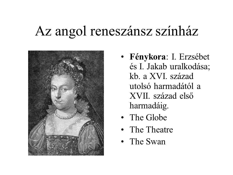 Az angol reneszánsz színház Fénykora: I. Erzsébet és I. Jakab uralkodása; kb. a XVI. század utolsó harmadától a XVII. század első harmadáig. The Globe