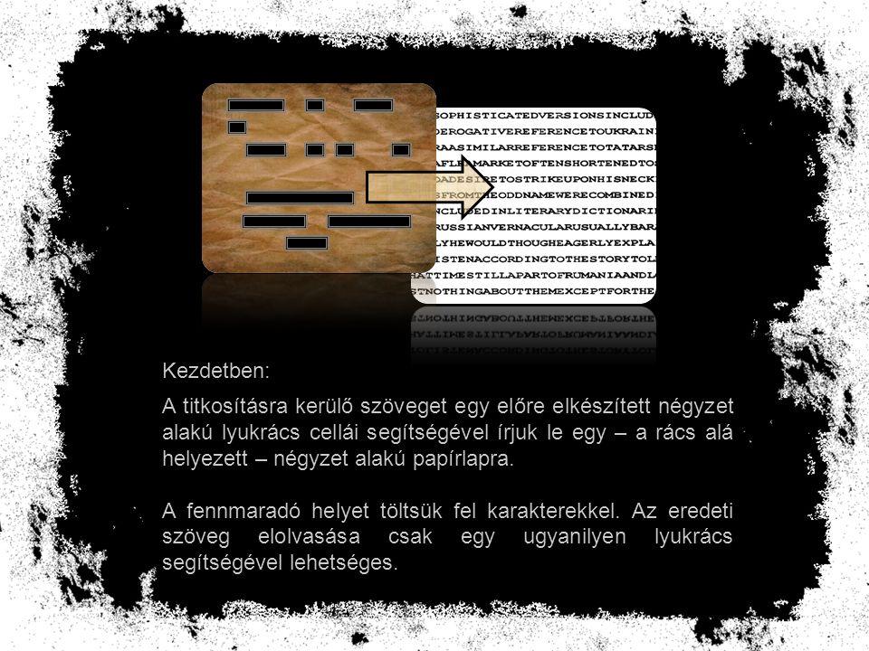 A titkosításra kerülő szöveget egy előre elkészített négyzet alakú lyukrács cellái segítségével írjuk le egy – a rács alá helyezett – négyzet alakú pa