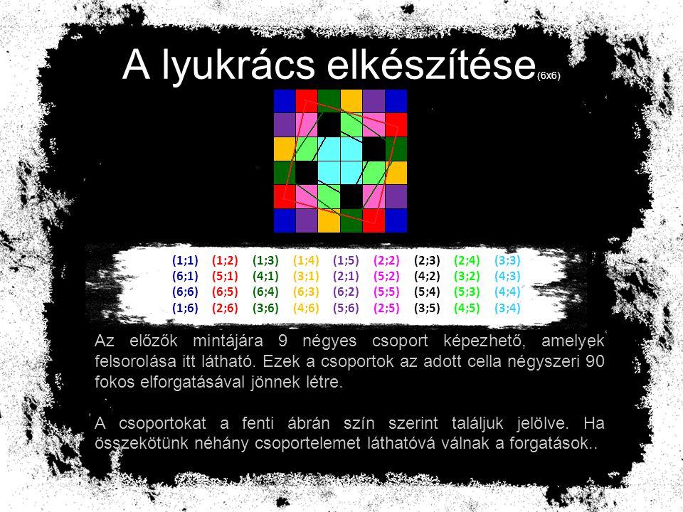 (1;1) (1;2) (1;3) (1;4) (1;5) (2;2) (2;3) (2;4) (3;3) (6;1) (5;1) (4;1) (3;1) (2;1) (5;2) (4;2) (3;2) (4;3) (6;6) (6;5) (6;4) (6;3) (6;2) (5;5) (5;4) (5;3) (4;4) (1;6) (2;6) (3;6) (4;6) (5;6) (2;5) (3;5) (4;5) (3;4) Az előzőleg elkészített oszlopok mindegyikéből egy tetszőlegesen kiválasztott helyre vágható lyuk a rácsra.