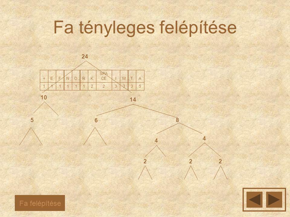 Fa tényleges felépítése 5 A 3 T 3 M 3 I 2 SPA CE 2 K 1 R 1 O 1 N 1 F 1 E 1 + 222 4 4 5 6 8 10 14 24 Fa felépítése