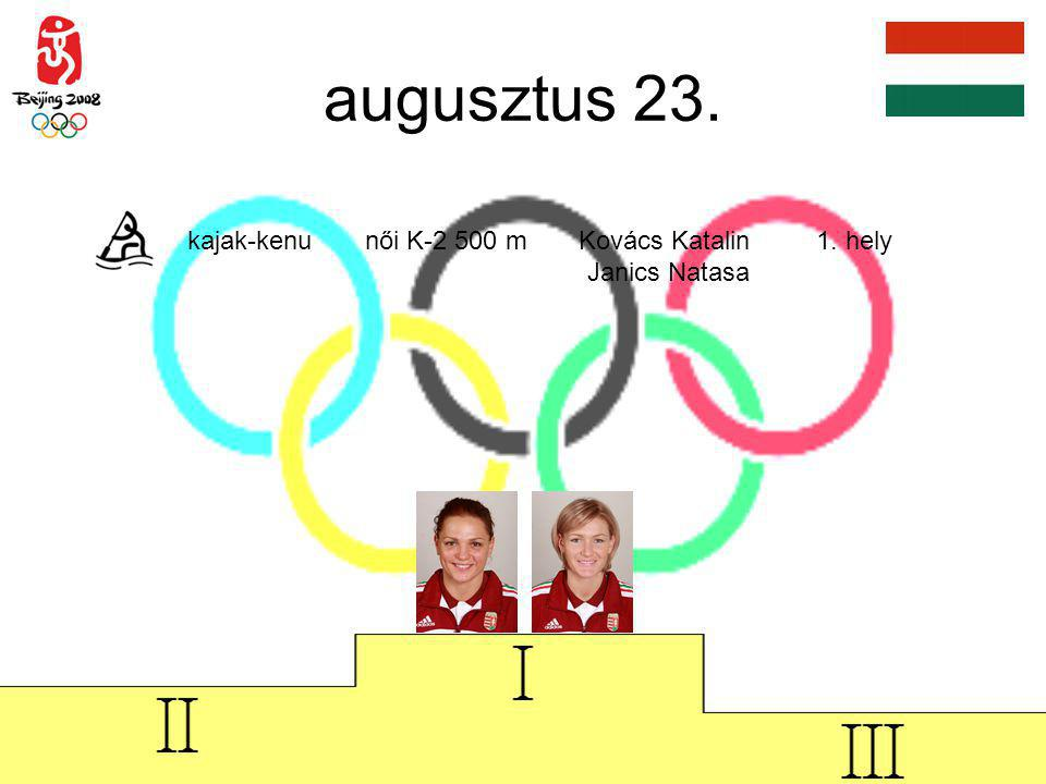 augusztus 23. kajak-kenu női K-2 500 m Kovács Katalin 1. hely Janics Natasa