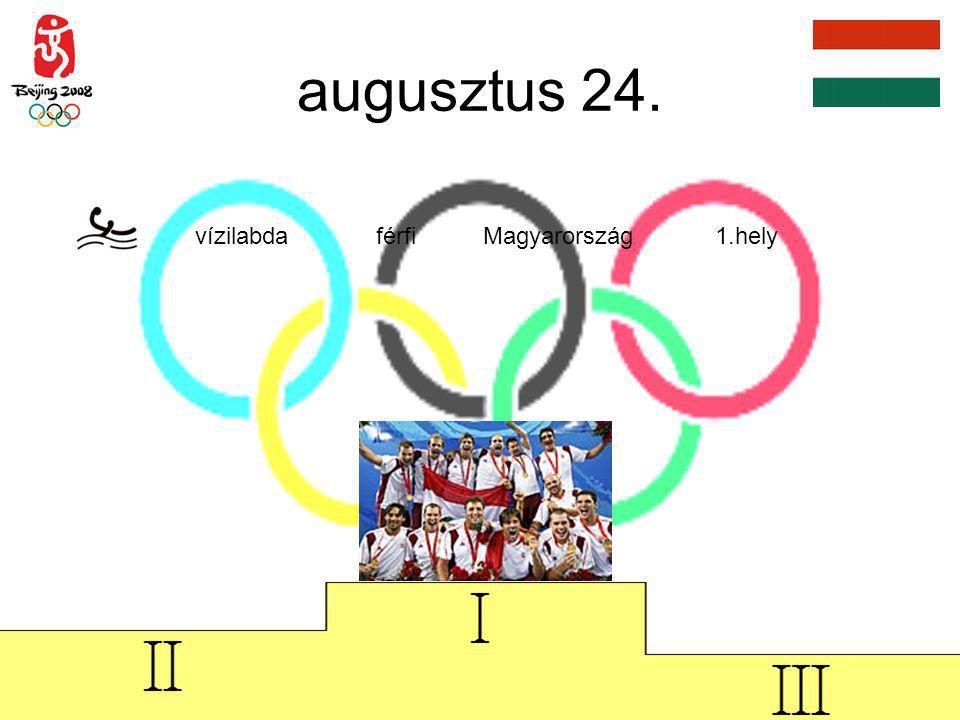 augusztus 24. vízilabda férfi Magyarország 1.hely