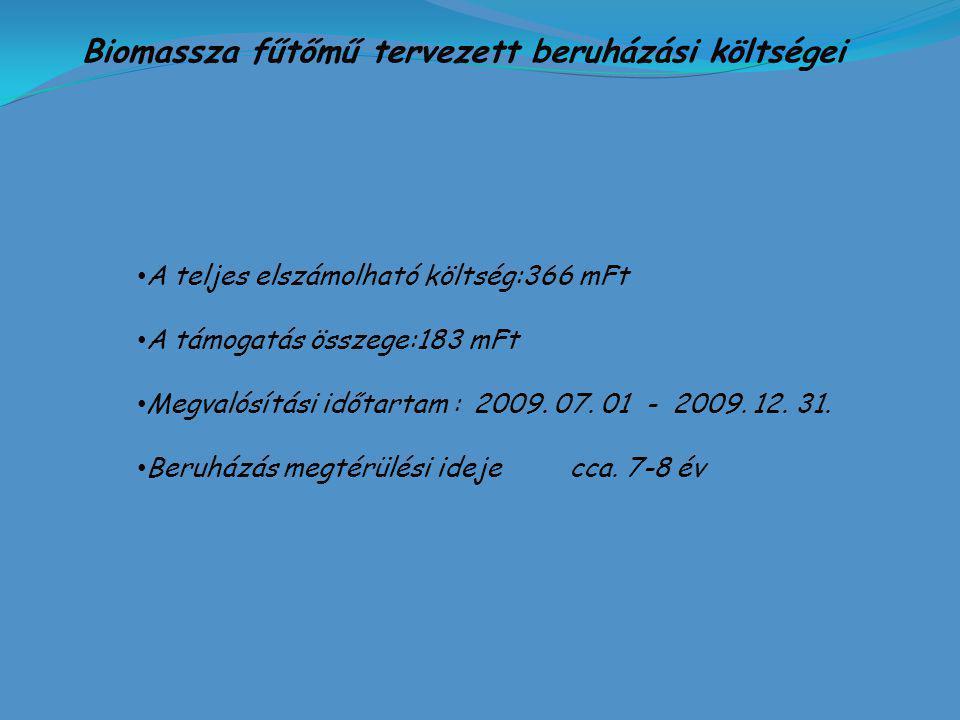 Biomassza fűtőmű tervezett beruházási költségei A teljes elszámolható költség:366 mFt A támogatás összege:183 mFt Megvalósítási időtartam : 2009.