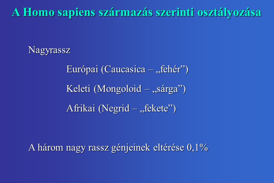 """A Homo sapiens származás szerinti osztályozása Nagyrassz Európai (Caucasica – """"fehér ) Keleti (Mongoloid – """"sárga ) Afrikai (Negrid – """"fekete ) A három nagy rassz génjeinek eltérése 0,1%"""